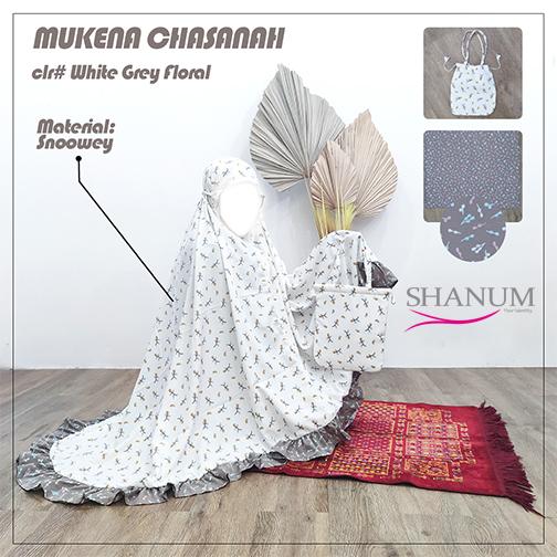 Jual Mukena Chasanah White Grey Floral